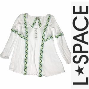L*Space White Embroidered Swim Cover-up Shirt xs